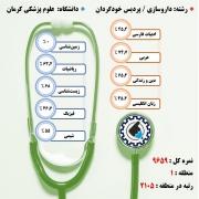 کارنامه قبولی داروسازی / پردیس خودگردان – دانشگاه علوم پزشکی کرمان – سال ۹۷