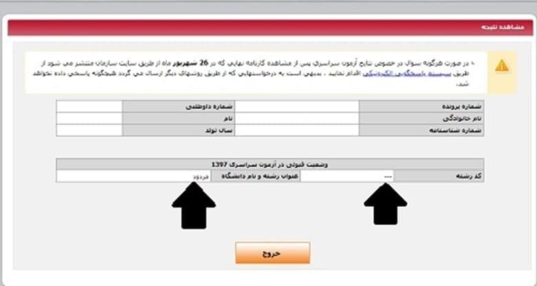 وضعیت قبولی آزمون سراسری سایت سنجش