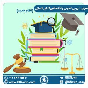 ضرایب دروس عمومی و اختصاصی کنکور انسانی 1400 (نظام جدید)